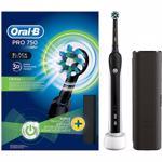 Periuta de dinti electrica ORAL-B PRO 750, 40000 pulsatii/min, 8800 oscilatii/min, Curatare 3D, 1 program, 1 capat, Trusa de calatorie, negru