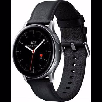 "Smartwatch Samsung Galaxy Watch Active 2 SM-R820, Procesor Dual-Core 1.15GHz, Super AMOLED 1.4"", 768MB RAM, 4GB Flash, Bluetooth, Wi-Fi, Carcasa Otel, Bratara Piele 44mm, Rezistent la apa si praf, Tizen (Argintiu/Negru)"